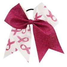 "NEW ""GLITTER BREAST CANCER Ribbon"" Cheer Hair Bow Pony Tail 3"" Girl Cheerleading"