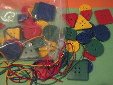 48 Attribute Lacing Buttons Montessori Autism OT Fine Motor Colors Sorting