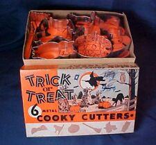 Vintage Complete Set Trick Or Treat Cookie Cutters Original Box 6 Metal