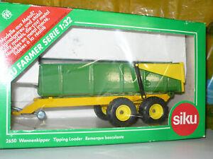 SIKU REMORQUE BASCULANTE 2 essieux, verte et jaune, ref 2650, échelle 1/32 + bte