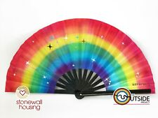More details for giant lgbtq + rainbow pride hand fan - trans & poc design drag queen