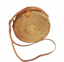 Handwoven Round Rattan Bag (Plain Weave Leather Closure), Round Bag, Straw Bag