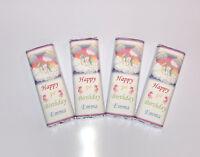 30 Personalised Cute Rainbow Unicorn Birthday Chocolate Bar WRAPPERS Ref;K51