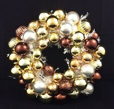 Christmas Ball Ornament Wreath Gold and Silver 16""