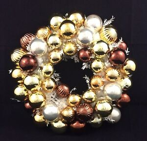 """Christmas Ball Ornament Wreath Gold and Silver 16"""""""
