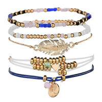 Women Bohemian Crystal Multi-layer Leather Bangle Wrap Bracelet Jewelry Gift
