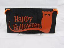 Halloween Wood Sign Door Hanger Wall Hanger Happy Halloween With Cat