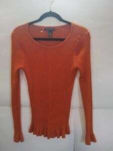 INC International Concepts Sleeve Sweater Tunic size XL Orange Ribbed