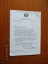 More details for 1979 letter on behalf of margaret thatcher downing street  headed paper
