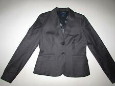 J. Crew Women's Pinstripe 2 Button Blazer Jacket Size 4 Gray Super 120s Wool