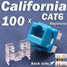 100 Pcs lot Keystone Jack CAT6 Blue Network Ethernet 110 Punch Down 8P8C RJ45