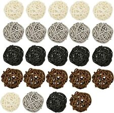 Wicker Rattan Ball, 24-Pack Decorative Balls for Bowls, Vase Fillers