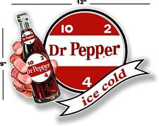 "(DP-107) 12"" DR PEPPER 10 2 4 ICE COLD BOTTLE IN HAND COOLER POP soda decal"