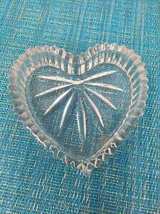 "Heart Shaped Cut Glass nut/candy dish -4.25"" x4"""