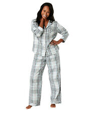 Famous Make Womens 100% Cotton Grey / Blue Checked Stag Pyjamas