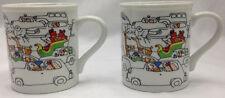 •Toscany Christmas Mugs Santa Traffic Jam Coffee Tea Cup Reindeer Sleigh Set/2
