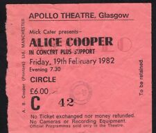 1982 Alice Cooper concert ticket stub Apollo Theatre Glasgow Special Forces
