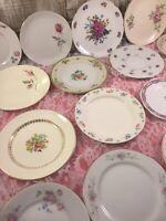 20 - Vintage Mismatched China Dessert Plates Wedding Mad Hatter Shabby Pinks #91