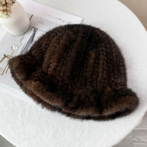Women's Real Mink Fur Hat Knitted Cap Stretch Bowler Bucket Beanies With Ruffled