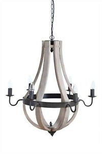 Country Chandelier w 6 Arms in Wood and Metal Round Aged Finish