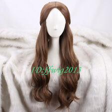Belle Largo Ondulado Marrón Peluca Cosplay diario + un casquillo de la peluca