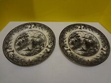 "ROYAL STAFFORD BLACK & WHITE HAYRIDE 11"" EARTHENWARE DINNER PLATES Set of 2"