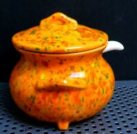 Vintage Condiment Jell Jam Jar Crock with Lid and Spoon FREE SHIPPING!