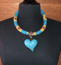 Embroidered Statement Necklace Mexico Hand Painted Heart Necklace