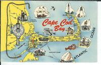 CG-028 MA, Cape Cod Auto Map Chrome Postcard Dexter Press Massachusetts