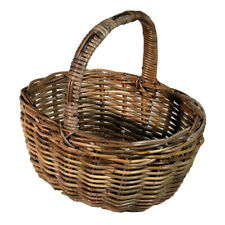 Grey Classic Traditional Rattan Shopping Basket Wicker Market Allotment Gift