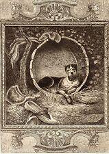 EAU FORTE / Fables de la Fontaine 1883 / LE CHIEN A QUI ON A COUPE LES OREILLES