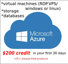 AZURE-RDP/VPS 12 Months MEMBERSHIP+200$ CREDIT GIFT TO EXPLORE ANY AZURE SERVICE