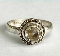 Sterling Silver Ethnic Asian Vintage Style Yellow Quartz Ring Size N 1/2 Gift
