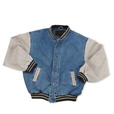 Men's Washed Vintage Denim Varsity Jacket