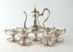 800 Silver Austrian Footed Turkish Coffee Set Pot, Six cups and saucers c1900