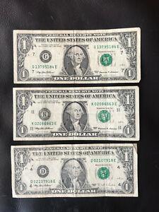 Lot 3 billets de 1 dollard USA / Etats-unis.