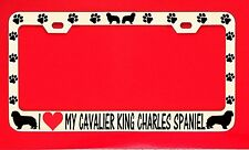 I Love My Cavalier King Charles Spa License Plate Frame Tag Dog Paw Weatherproof