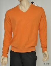Nwt $145 Ralph Lauren POLO Cotton/Cashmere V-Neck Sweater Pullover Top Orange *L