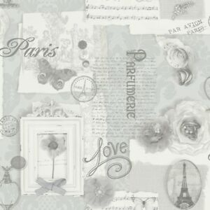 Arthouse - V.I.P Felicity Paris Silver Floral Feature Wallpaper - 665401