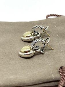 Genuine David Yurman Heart-shaped Drop Earrings In Sterling Silver & 14K Gold