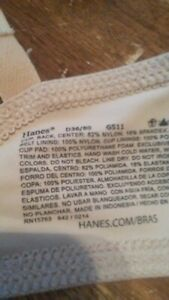 Hanes bras 36d underwire lightly lined 2 hook closure