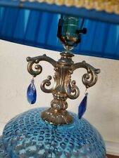 1970s Hollywood Regency Ef & Ef Industries Blue Glass Lamp Set - a Pair
