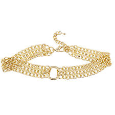 Lux Accessories Gold Tone 3 Row Chunky Curb Chain O Ring Choker Necklace
