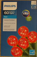 Philips 60 ct LED Faceted Sphere String Lights Red Indoor Outdoor Green Wire