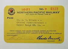 1921 Northern Pacific Railway Company Railroad General Superintendent Pass
