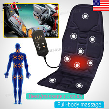 Car Massage Heated Seat Cushion Back Neck Pain Lumbar Massager Vibration Pad 12V