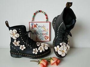 Rare Dr Martens 1460 black large white flowers floral boots 3D UK 6 EU 39 US 8