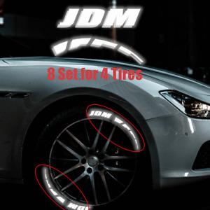 Car 4 Tires Night Reflective Sticker JDM & Brake Blade Tyre Lettering Decals Kit