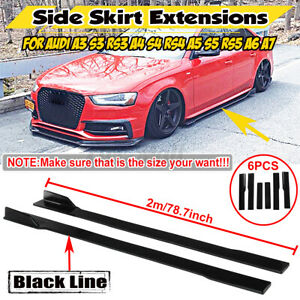 "6Pcs 2M/79"" Side Skirts Extension Splitters For Audi A3 A4 A5 A6 A8 Q3 Q7 RS5"