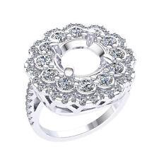 1.75Ct Natural Diamond Double Halo Semi-Mount Engagement Ring 18k White Gold